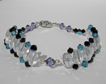 Purple, Black AB, Teal Swarovski Crystals and Clear Oval Crystals Bracelet with Silver Magnetic Heart Clasp