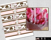 Girl Farm Birthday Party Water Bottle Wrappers/Napkin Wrappers- PRINTABLE