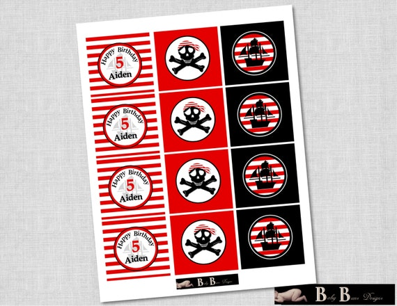 Pirate Birthday Party 2 inch round cupcake toppers/round tags- Printable or Shipped