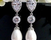 Wedding Bridal Pearl Earring White Teardrop Pearl, Round CZ Drop with White Gold Plated Peardrop Cubic Zirconia Post Earring