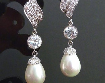 Bridal Earring - White Teardrop Pearl, Round CZ Drop with White Gold Plated Leaf Shaped Cubic Zirconia Post Earring