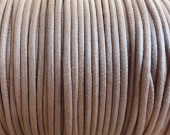 5 Yards - 2mm Light Brown Waxed Cotton Cord