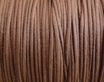 0.5mm Light Brown Waxed Cotton Cord- String - 10 Yard Increments