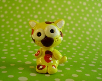 Yellow Calico Kitty Cat Polymer Clay Animal Ooak Gift Figure Figurine Miniature Cute