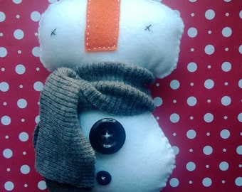 Stuffed Snowman with Gray Scarf Plush Plushie Softie Stuffed Doll Ooak Christmas Gift Santa Clause Holiday Home Decor Gift Snow Man