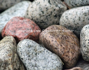 "Summer Lake Shore Stones Fine Art Photograph - 8 x 10"" - Nature Decor"