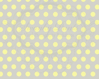 NEW ITEM 4ft x 4ft Vinyl Photography Backdrop / Gray and Yellow Polka Dots