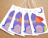 Rabbit swing tags pack of 4 Bunny gift tags