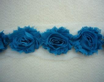 Shabby Chiffon Rose Trim, Shabby Flower, Peacock, 1 yard