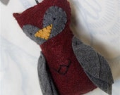 Felt Owl Ornament // Red and Grey