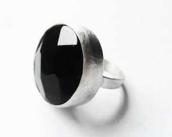 Onyx Silver Ring Minimalist Black Elegant Romantic Jewelry.
