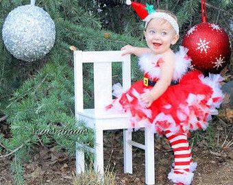 Christmas Santa Tutu--Santa tutu-- Christmas tutu-- Santa Dress-- comes with matching legwarmers