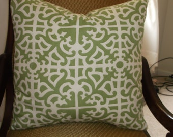 Pillow, Lime Green Over Off-White Williamsburg Colonial Geometric Pattern, Timeless Classic All Cotton Vintage Weave - Throw Pillows