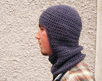 Grey Crochet Ski Hooded Cowl Mens Snood