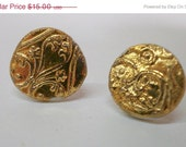 ON SALE Small Studs Porcelain Earrings with Floral Stamping and Gold Luster