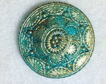 Antique Czech Glass Aquamarine Blue & Gold Large Ornately Decorated Button
