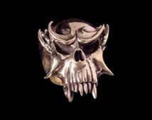 Stainless Steel Vampire Skull Ring - Free Re-Size/Shipping