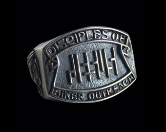 Solid 92.5% Sterling Silver Christian Biker Outreach Jesus Ring - Free Re-Size/Shipping