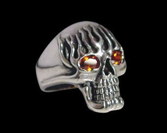 Stainless Steel Flaming Death Skull Ring - Size 10.75 - No Stones - Instock/Free Shipping