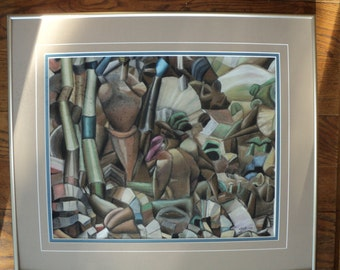Vintage Cubist Style Modern Art Original Pastel Oil Pencil Art Work by The Artist JFEE '91, Great Composition with great lines and design