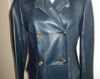 Vintage Navy Blue  Leather Trench Coat, Size Small Woman's,  Fully Lined with Quilted Collar and Pockets, Made in Spain in Vintage Condition