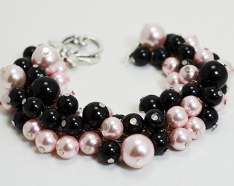 Pearl Bracelet,  Black and Pink Cluster Bracelet,, Chunky Pearl Jewelry, Bridesmaids Bracelet, Pink and Black Jewelry, Wedding Pearl Jewelry