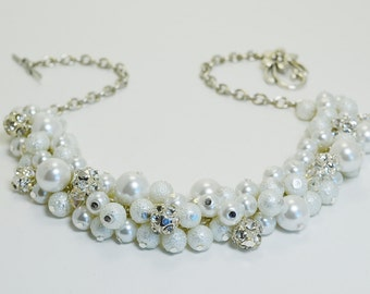 White Pearl & Rhinestone Necklace, Pearl Necklace, Chunky White Necklace, Pearl Cluster Necklace, White Bridal Jewelry, Bridesmaid Necklace