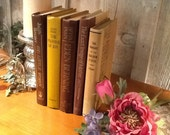 Brown and gold vintage books, gold lettering, book collection, weddings, props
