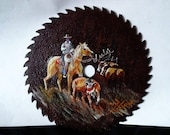 original, acrylic, painting, saw, rodeo, horse, cows