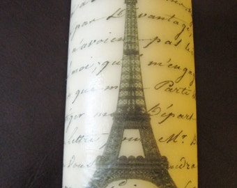 Eiffel Tower French Script 6 Inch Pillar Candle