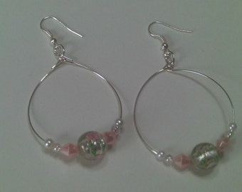 Palest Pinks, Clear, Green and Floral Lamp Work Beaded HOOPS, SPRING Jewelry Sale, Gifts for Her, Sale  Earrings, Large Hoops, SALE