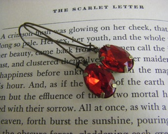 Scarlet Red Earrings Old Hollywood Glam rhinestone earrings red rhinestone dangles