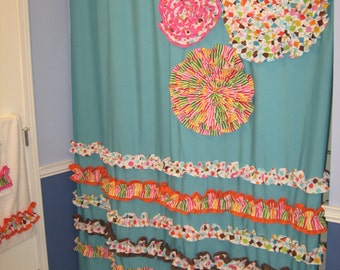 Shower curtain custom made designer fabric ruffles and flowers aqua
