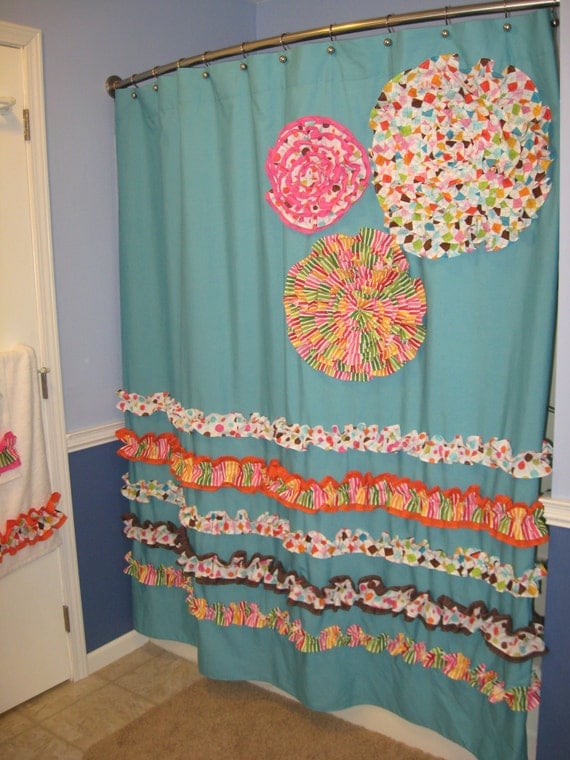 Items Similar To Shower Curtain Custom Made Designer Fabric Ruffles And Flowers Aqua Lime Green