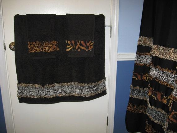 Black And Tan Bathroom: Towel Set Hand Bath Washcloth Bathroom Fabric By