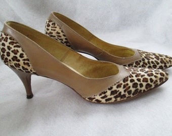 1960's BERNE of Switzerland Leopard Skin and Leather PUMP