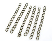 100 WHOLESALE Extended and Extension Chains - Antique Bronze - Tail Extender - 50x3mm - Ships IMMEDIATELY from California - CH329a