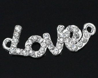 """10 Love Connectors - """"Love"""" - Clear Rhinestones - Hollow - 30x10mm - Ships IMMEDIATELY from California - SC732a"""
