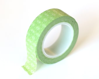 Washi Tape Green Starburst  - 15mmx10m - 1 Roll - Ships IMMEDIATELY from California - TP229