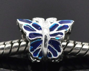 SALE Sterling Silver Butterfly Beads - 925 Silver - Blue with Enamel - 12x9mm - 2pcs - Ships IMMEDIATELY from California - B898
