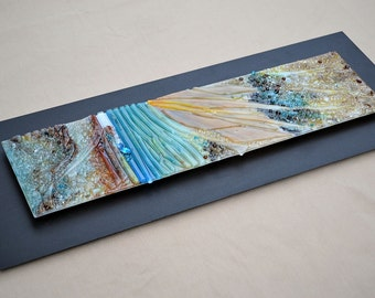Fused Glass Wall Hanging Art Mounted on Steel -In Time- Enamel Painting with Relief Surface - Made to Order