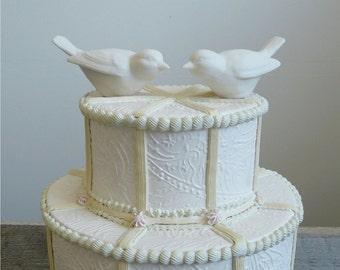 Porcelain Bird Cake Topper, Love Bird Set of 2 Ceramic Figurines