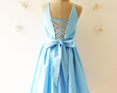 Vintage Inspired Dress in Blue Back Corset Dot Blue Dress Tea Party Bridesmaid Beautiful Day Dress - The Memory -Size S-M-