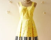 SALE Music Lover Piano Dress Yellow Dress Sweet Day Dress Bridesmaid Choir Birthday Concert Event Pleated Skirt Dress  -Size S- - Amordress