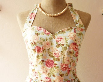 FLORAL DRESS summer dress Vintage style Dress romantic blue pink rose tea dress -Size xs, s, m, l, xl,custom size, tea length, floor length