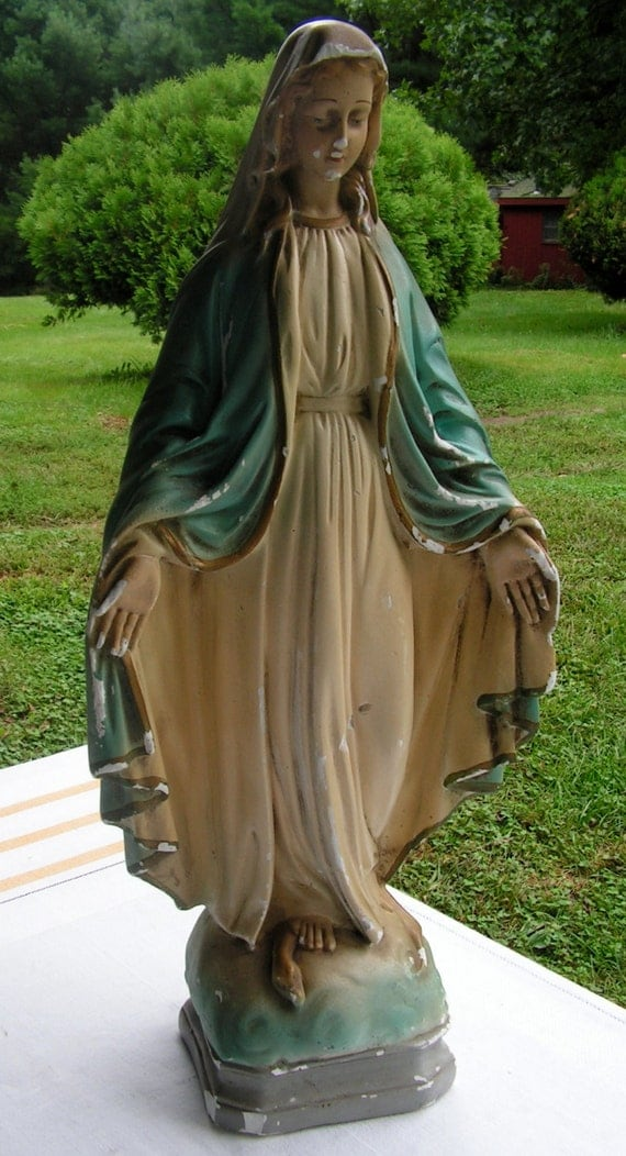 17 inch 1940s mother mary garden statue from a convent school