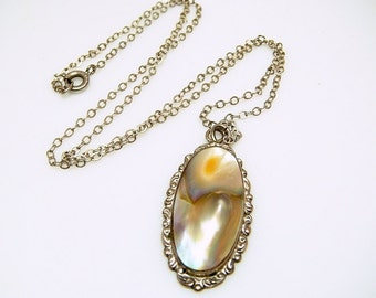 Victorian Sterling Blister Pearl Pendant Necklace