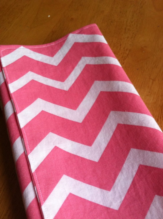 Table napkins pink white chevron Eco Friendly Reversible Set of 4