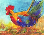Rooster,  Fine Art Giclee Print - enhanced with Acrylic  Paint  on Canvas Sheet from my original Painting - ebsq Artist Ricky Martin