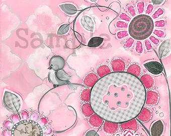 Bird Wall Art ~ Childrens Wall Art ~ Pink and Grey Theme ~ Baby Girls Nursery Room ~ Bird Flowers ~ Hand Painted Art Print